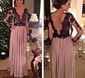 Black Lace Bodice Open Back Deep V Neck Floor Length Chiffon Prom Dress