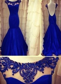 Royal Blue Sleeveless Beaded Neckline Backless Mermaid Prom Dress