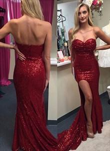 Burgundy Sheath Sequin Strapless Sweetheart Prom Dress With Side Split
