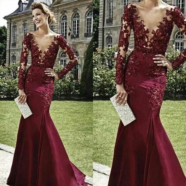 Burgundy Plunge V Neck Long Sleeve Illusion Bodice Mermaid Prom Dress