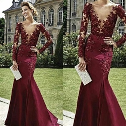 Burgundy Plunge V Neck Long Sleeve Illusion Bodice Mermaid Prom Dress