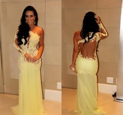 Yellow One Shoulder Illusion Lace Bodice Applique Chiffon Prom Dress