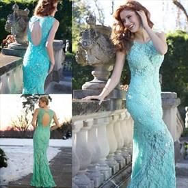 Blue Sleeveless Illusion Lace Prom Dress With Keyhole Back