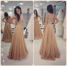 Champagne Sleeveless Beaded Accents Lace Bodice Chiffon Prom Dress