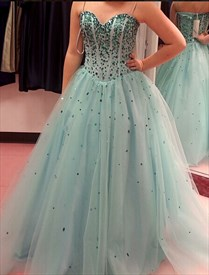 Strapless Sweetheart Neckline Beaded Corset Ball Gown Prom Dress