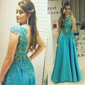Turquoise Sleeveless Lace Applique Backless Satin A Line Prom Dress