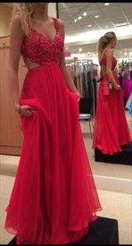 Red Spaghetti Strap Beaded Bodice Cut Out Waist Chiffon Prom Dress