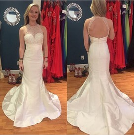Halter Illusion Neckline Sleeveless Open Back Mermaid Long Prom Dress