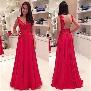 Red Sleeveless Lace Bodice Open Back Applique Chiffon Prom Dress
