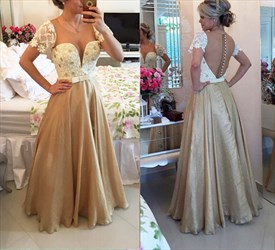 Short Lace Sleeve Beaded Plunge V Neck Beaded Bodice Gold Satin Dress