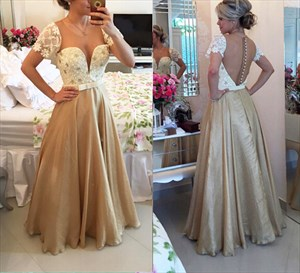 Short Lace Sleeve Beaded Plunge V Neck Beaded Bodice Gold Satin Dress