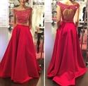 Red Two Piece Beaded Bodice Sleeveless Open Keyhole Back Prom Dress