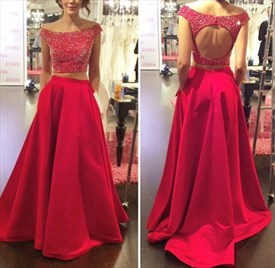 Black And Red Two Piece Sleeveless Lace Bodice Ball Gown Prom Dress