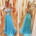 Blue Sleeveless Lace Applique Sheer Top Chiffon Prom Dress