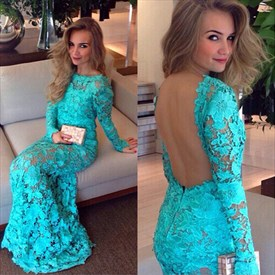 Illusion Lace Long Sleeve Backless Sheath Mermaid Long Prom Dress