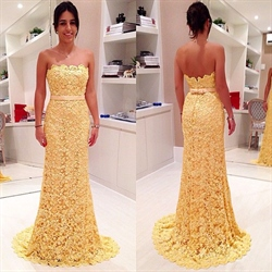 Yellow Strapless Full Lace Floor Length Mermaid Prom Dress With Ribbon