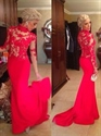 Red Round Neck Sheer Illusion Lace Long Sleeve Chiffon Mermaid Prom Dress