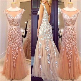 Champagne Sleeveless Floral Applique Open Back Tulle Mermaid Prom Dress