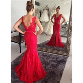 Red Sleeveless V Neck Open Back Lace Mermaid Prom Dress With Split