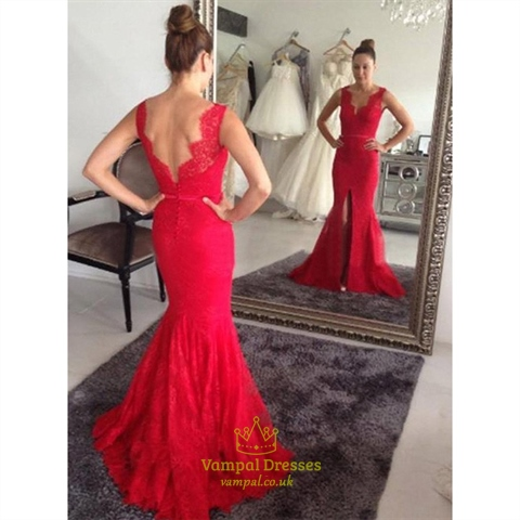 Red Sleeveless V Neck Open Back Lace Mermaid Prom Dress