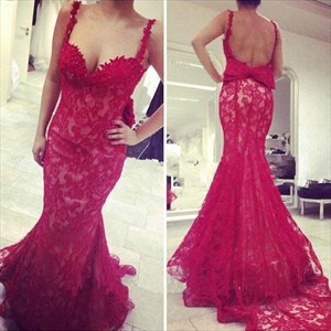 Red Spaghetti Strap Backless Lace Mermaid Prom Dress With Bow On Back