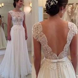 White Sleeveless Lace Bodice Open Back Chiffon Prom Dress With Belt