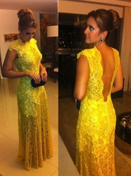 Yellow Lace Sleeveless Deep V Back Illusion Prom Evening Dress