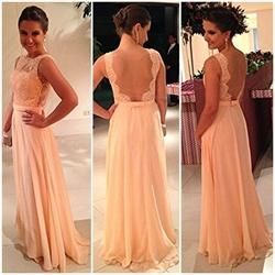 Champagne Sleeveless Floor Length Lace Embellished Chiffon Prom Dress