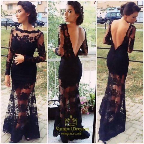 Black Lace Long Sleeve Open Back Sheer Overlay Mermaid Prom Dress