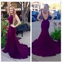 Elegant Sexy Purple Sleeveless Open Back Long Mermaid Prom Dress