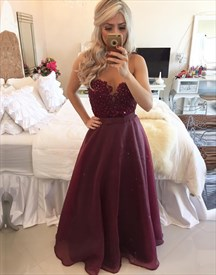 Burgundy Strapless A Line Sweetheart Neckline Beaded Bodice Long Prom Dress