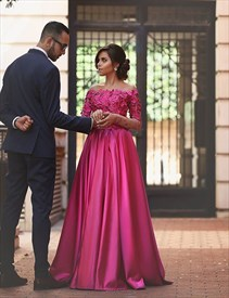 Fuchsia Floral Applique Off The Shoulder A Line Satin Prom Dress