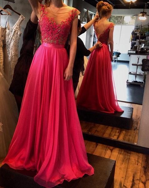 Red Cap Sleeve Illusion Embellished Bodice Open Back Chiffon Prom Dress
