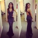Purple Sleeveless Sequin V Neck Mermaid Prom Dress With Keyhole Back