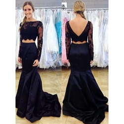 Navy Blue Two Piece Sheer Long Sleeve Crop Top Mermaid Prom Dress