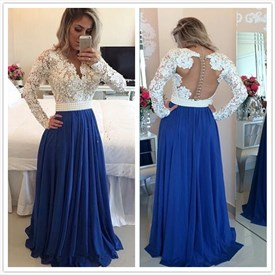 White Lace Bodice Open Back A Line Blue Chiffon Prom Dress With Beading