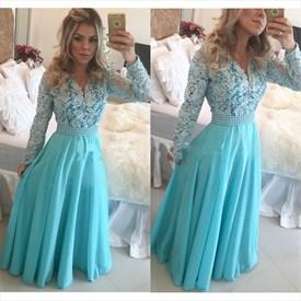 Blue A Line Lace Bodice Sheer Long Sleeve Chiffon Prom Dress