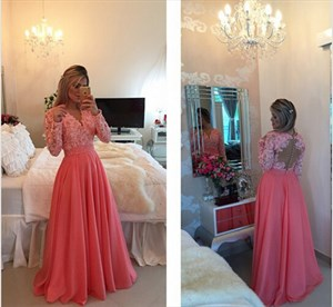 Pink Floor Length V Neck Lace Embellished Bodice Chiffon Prom Dress