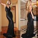 Black Sequin Spaghetti Strap Backless Sheath Mermaid Prom Dress