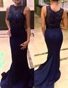 Navy Blue Sleeveless Illusion Beaded Bodice Satin Mermaid Evening Gown