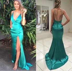 Green Satin Spaghetti Strap V Neck Mermaid Prom Dress With Split Front