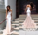 Champagne Strapless Sweetheart Sheer Lace Mermaid Prom Dress With Train