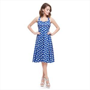 Blue And White Halter Knee Length Polka Dot Sleeveless Summer Dress