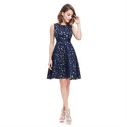 Stylish Navy Blue Round Neck Sleeveless Short Fit And Flare Dresses