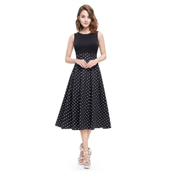 Vintage Black And White Polka Dot Sleeveless Fit And Flare Midi Dress