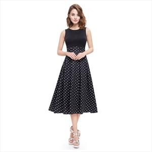 Vintage Black And White Polka Dot Sleeveless Fit And Flare Midi Dress
