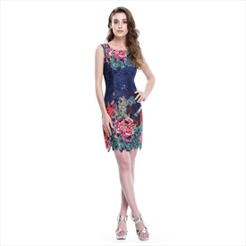Short Sleeveless Floral Print Sheath Dress With Lace Embellished