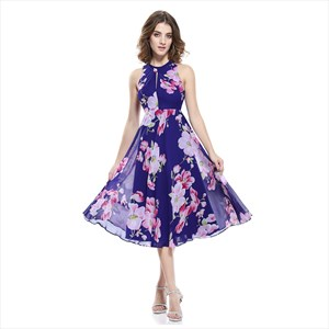 Chiffon Floral Jacquard Sleeveless A-Line Skater Dresses With Keyhole