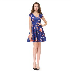 V-Neck Floral Print Fit And Flare Short Party Dress With Cap Sleeves