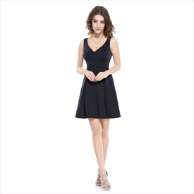 V-Neck Little Black Fit And Flare Casual Dress With Unique Back Design